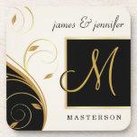 Stylish Monogram Wedding Gift Cork Coaster Set