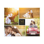 Stylish Monogram Wedding Photo Collage Canvas Stretched Canvas Print