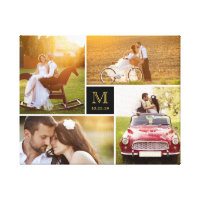 Stylish Monogram Wedding Photo Collage Canvas Canvas Print