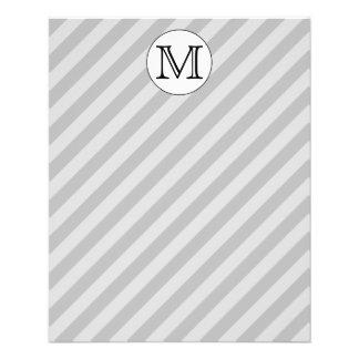 Stylish Monogram with Gray Stripes. Custom. 11.5 Cm X 14 Cm Flyer