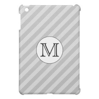 Stylish Monogram with Gray Stripes. Custom. Case For The iPad Mini
