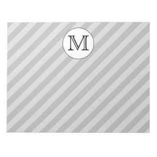 Stylish Monogram with Gray Stripes. Custom. Notepad