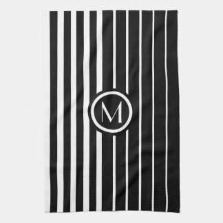 Stylish monogrammed black and white stripes tea towel