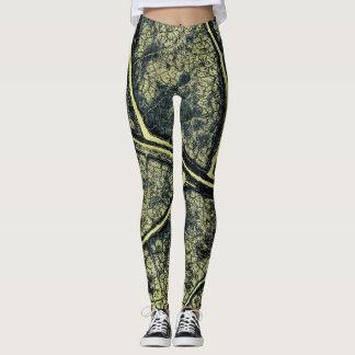 Stylish Moss Green Leaf Leggings