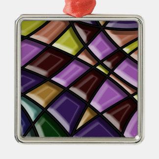 Stylish Mossiac Silver-Colored Square Decoration