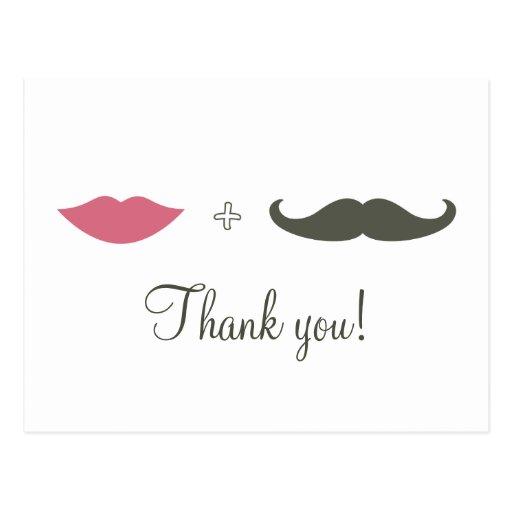 Stylish Moustache and Lips Thank You Postcard