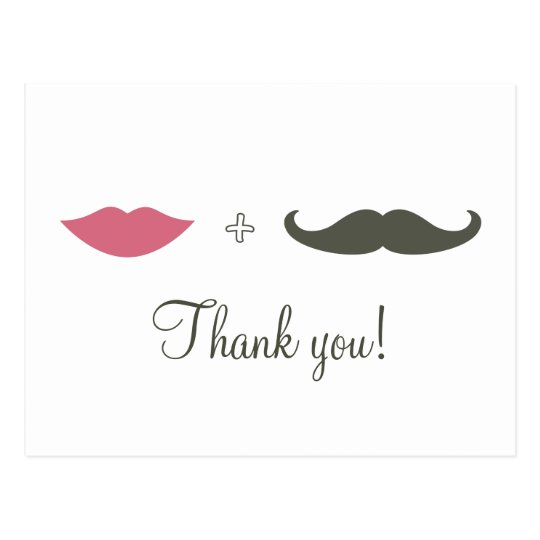 Stylish Moustache and Lips Thank You Postcard