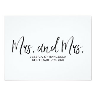 "Stylish ""Mrs. and Mrs."" Lesbian Wedding Sign Card"