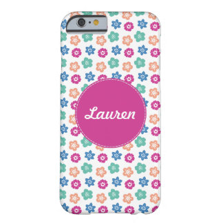 Stylish Multicolored Floral Monogram Barely There iPhone 6 Case
