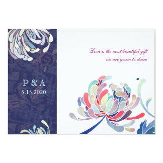 Stylish Mum Blue & White Floral Monogram Wedding Card