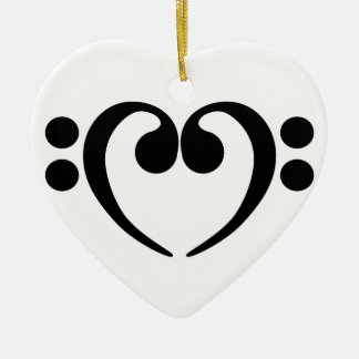 Stylish music bass clef heart design christmas ornament