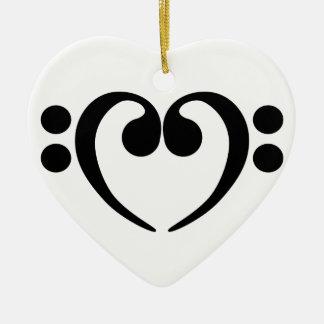 Stylish music bass clef heart design christmas ornament