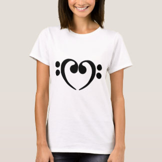 Stylish music bass clef heart design T-Shirt