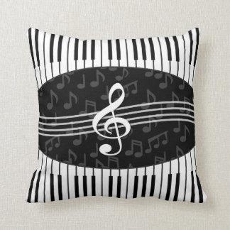Stylish Music Notes Treble Clef and Piano Keys Cushion