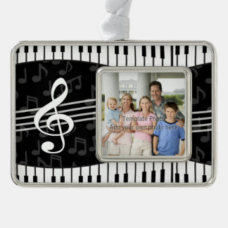 Stylish Music Notes Treble Clef and Piano Keys Silver Plated Framed Ornament