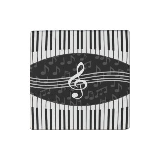 Stylish Music Notes Treble Clef and Piano Keys Stone Magnet