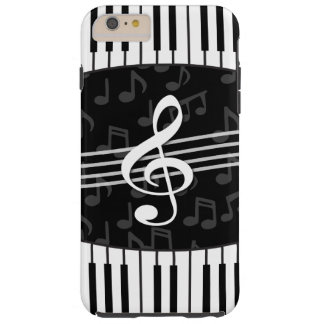 Stylish Music Notes Treble Clef and Piano Keys Tough iPhone 6 Plus Case