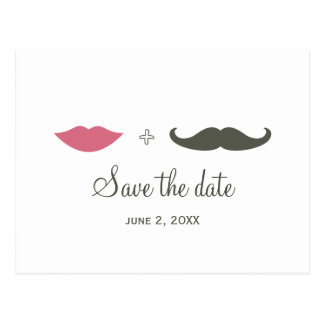 Stylish Mustache and Lips Save the Date Post Cards