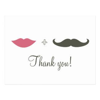 Stylish Mustache and Lips Thank You Postcard