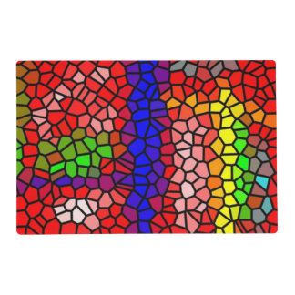 Stylish mutlicolored stained glass laminated place mat