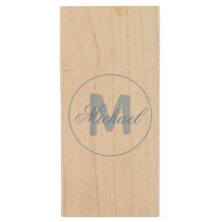 Stylish Name and Monogram Medallion Cerulean Blue Wood USB Flash Drive