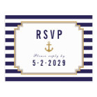 Stylish Nautical Striped Response RSVP Postcard