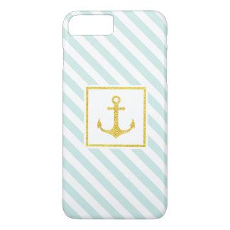 Stylish Nautical Stripes Faux Glitter Anchor iPhone 8 Plus/7 Plus Case