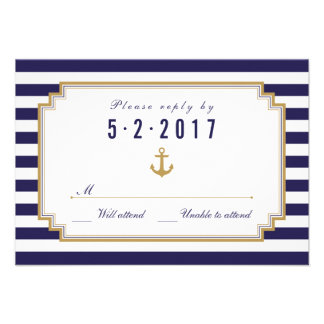 Stylish Nautical Wedding RSVP Card Announcements