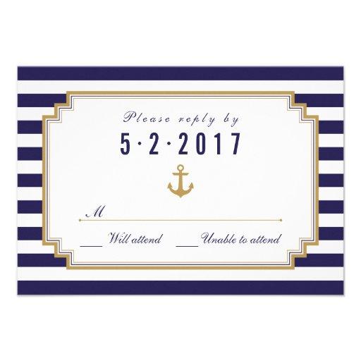 Stylish Nautical Wedding RSVP Card Announcements