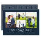 Stylish Navy 4 Photo Save the Date Card