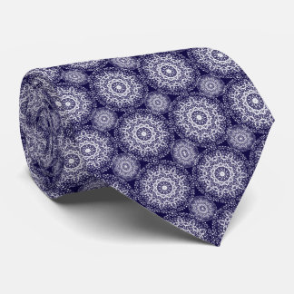 Stylish Navy Blue and White Lacy Floral  Patterned Tie