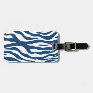 Stylish Navy Blue Zebra Print Pattern Luggage Tag