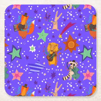 Stylish New Year And Christmas Background Square Paper Coaster