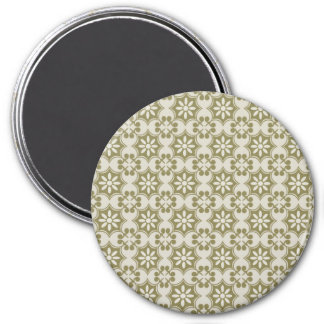 Stylish olive green Fleur de Lis repeating pattern 7.5 Cm Round Magnet