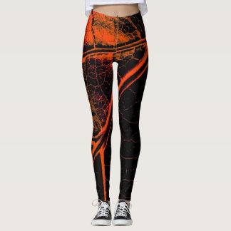 Stylish Orange Black Leaf Leggings