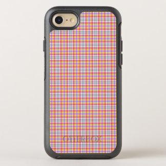 Stylish orange checkered Pattern OtterBox Symmetry iPhone 7 Case
