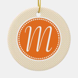 Stylish Orange Pastel Lattice Monogram Round Ceramic Ornament