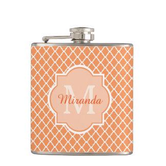 Stylish Orange Quatrefoil Monogram With Name Flasks