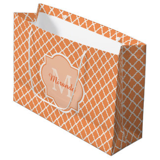Stylish Orange Quatrefoil Monogram With Name Large Gift Bag