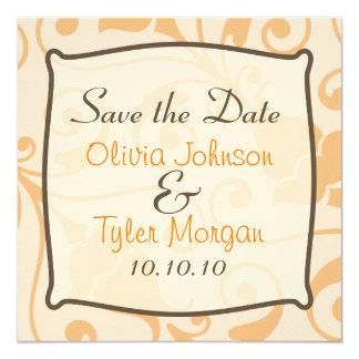 Stylish Orange Sherbert Save the Date 13 Cm X 13 Cm Square Invitation Card