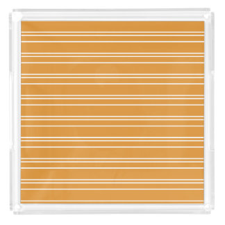 Stylish Orange Stripe Design Acrylic Tray