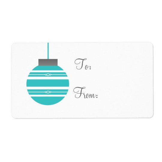 Stylish Ornament Holiday Gift Tags, Turquoise