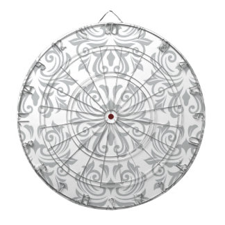 Stylish ornate light gray and white damask pattern dartboard