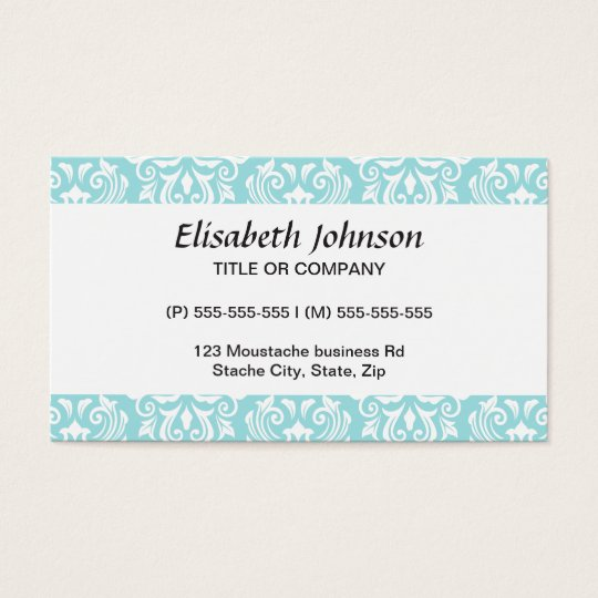 Stylish ornate pale aqua blue white damask pattern business card