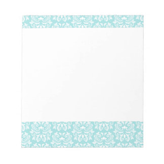 Stylish ornate pale aqua blue white damask pattern notepad