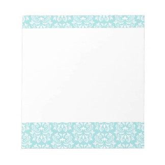 Stylish ornate pale aqua blue white damask pattern notepad