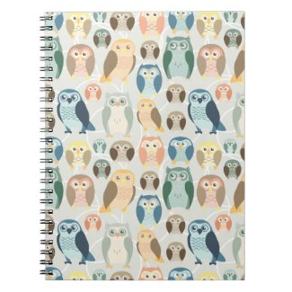 Stylish Owl Pattern- complementary colours notebook