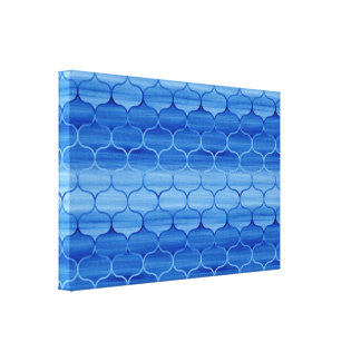 Stylish Painted Blue Ogee Pattern Canvas Print