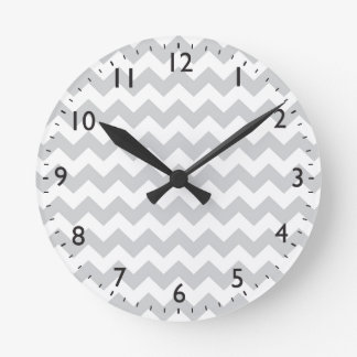 Stylish pale gray zig zags zigzag chevron pattern clock