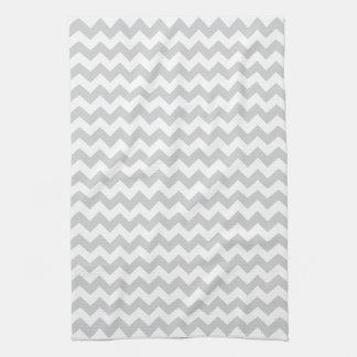 Stylish pale gray zig zags zigzag chevron pattern kitchen towel